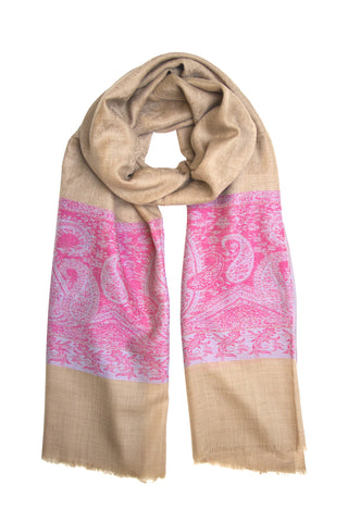 Pashmina scarf / shawl in camel and pink