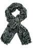 Black and white shawl or scarf with fine ornaments