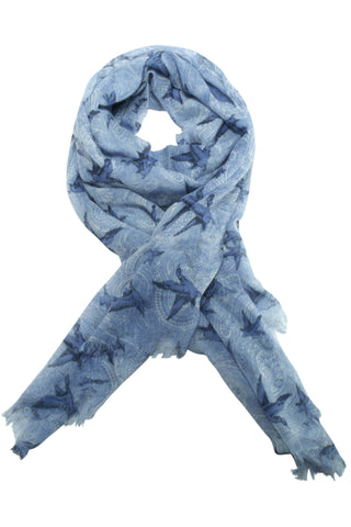 Paisley scarf from Besos with bird motif in grey / blue