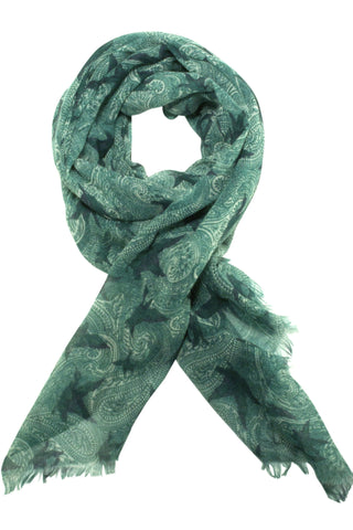 Paisley scarf from Besos with bird motif in grey / green
