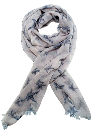 Paisley scarf from Besos with bird motif in grey / pastel pink