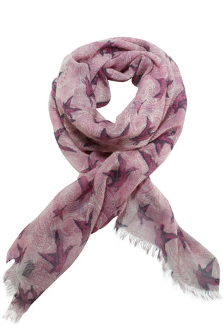 Paisley scarf from Besos with bird motif in grey / pink