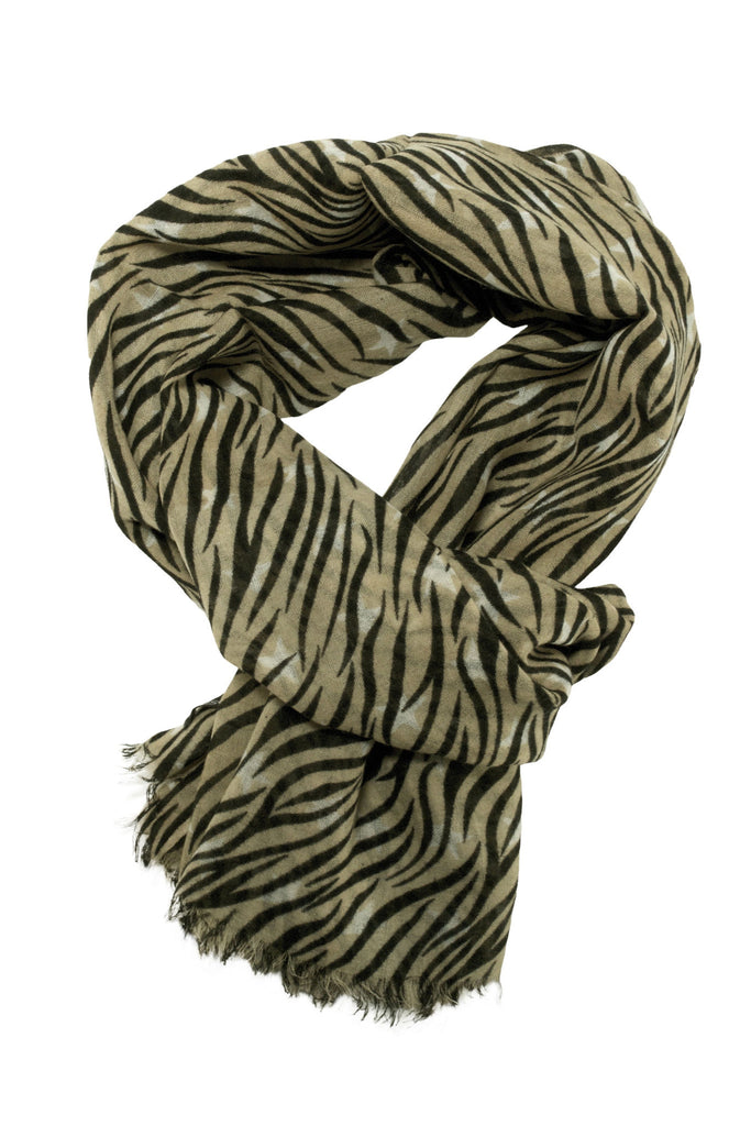 Beautiful zebra scarf in warm beige and off-white colour combination