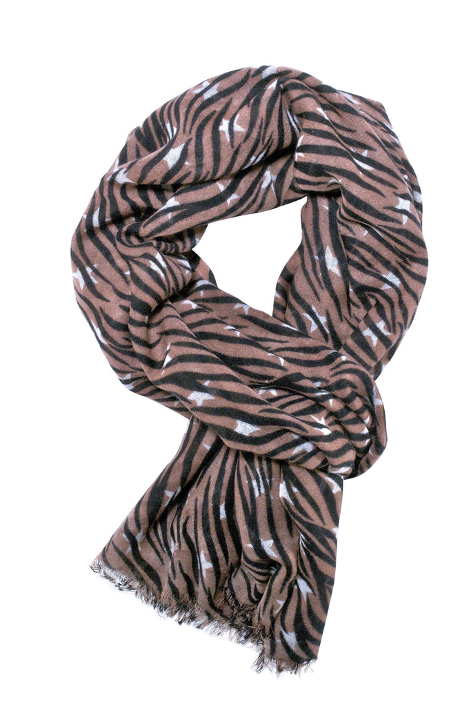 Beautiful zebra scarf in tobacco brown, black and off-white colour combination