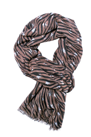 Beautiful zebra print scarf in tobacco brown, black and off-white colour combination