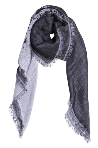 Black and white double-faced scarf in cotton