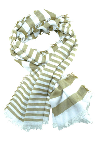 Ultra soft scarf with olive green stripes
