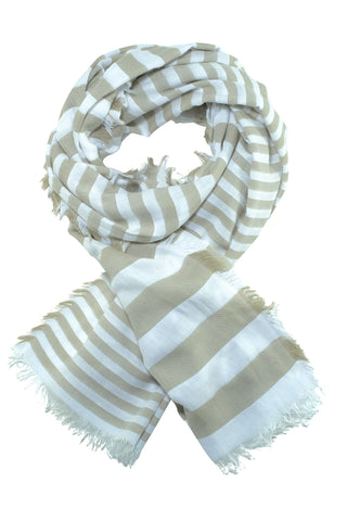 Ultra soft scarf with sand-coloured stripes