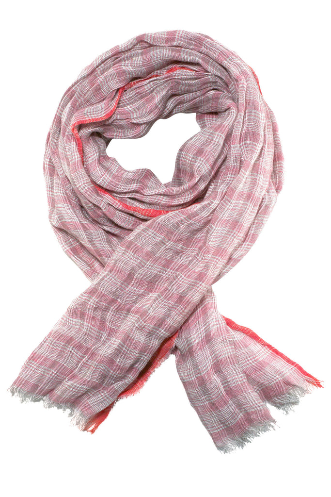 Quality rose coloured scarf in Prince of Wales check