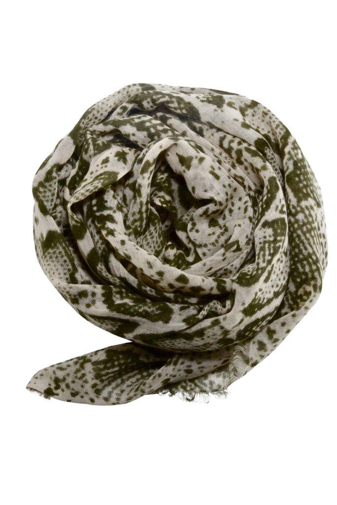 Stylish snake print scarf in army green and beige