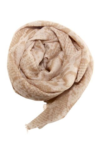 Stylish snake print scarf in beige