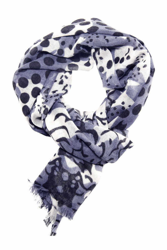 Anthracite grey scarf in a unique mix of animal and polka dot print