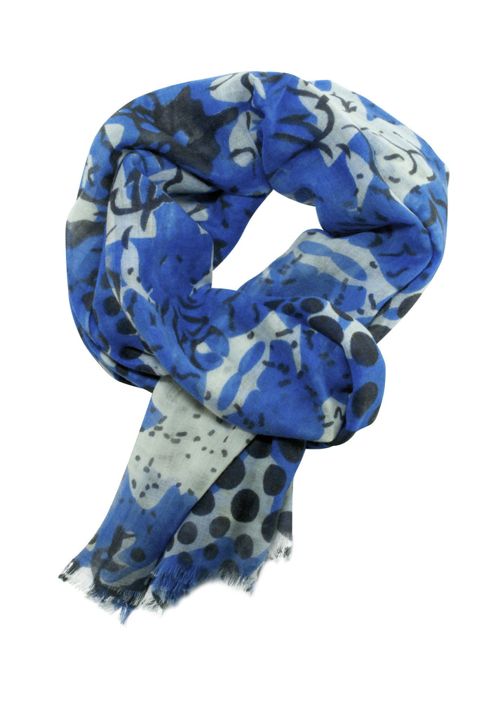 Clear blue scarf in a unique mix of animal and polka dot print