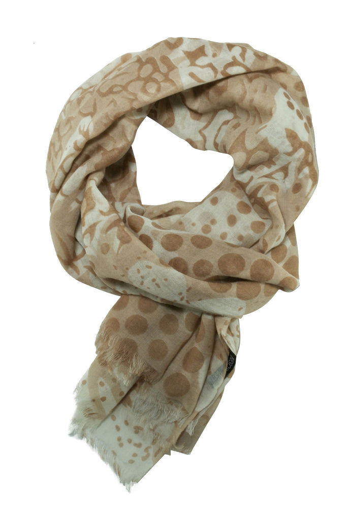 Beige scarf in a unique mix of animal and polka dot print