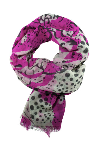 Hot pink scarf in a unique mix of animal and polka dot print