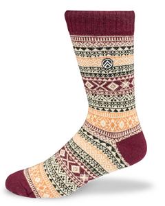 Sky Footwear Acadia Vintage Winter Wool Socks, Red Maroon