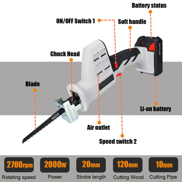 21V Cordless Reciprocating Saw Woodworking Cutting Power Tool