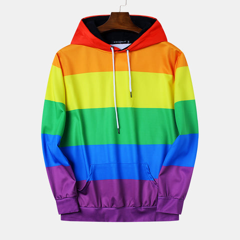Rainbow Striped Print Casual Loose Hooded Sweatshirt
