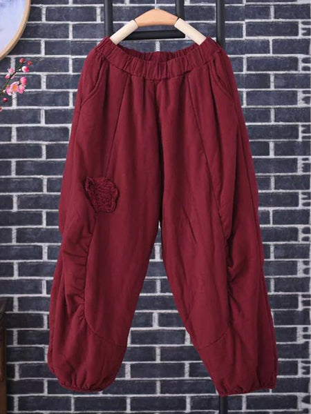 Embroidery Elastic Waist Cotton Thick Pants for Women