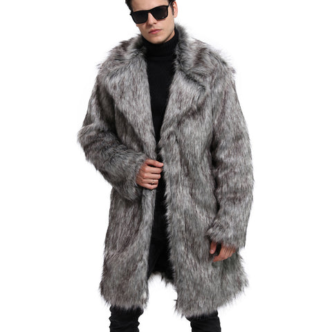 [Newest] Mens Slim Fit Faux Fur Trench Coat Mid Long Winter Warm Casual Jacket