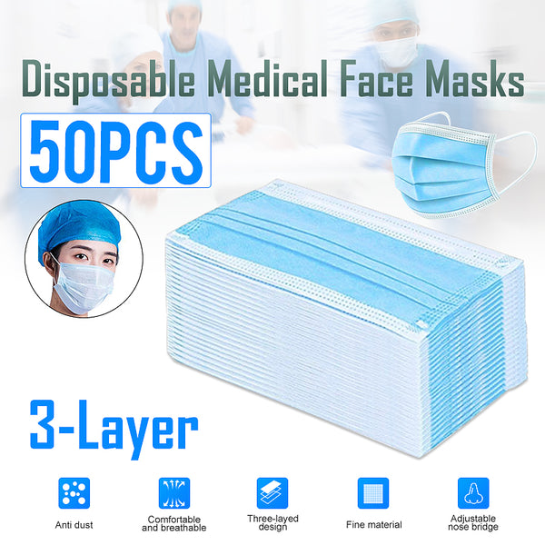 50pcs Disposable Face mask 3Layer Non-Woven Activated Carbon Anti-Dust face mask Earloop type Bacteria proof Flu Face Mouth Mask