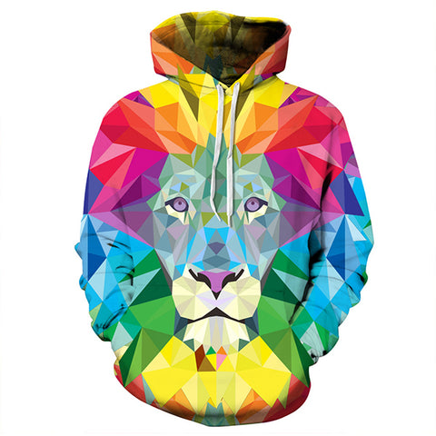 Fashion 3D Printed Colorful Lion Long Sleeve Casual Sport Hoodies Sweatshirt