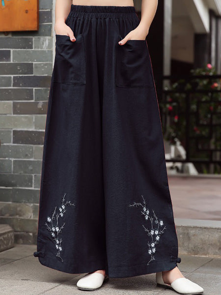 Vintage Embroidered Wide Legs Cotton Pants