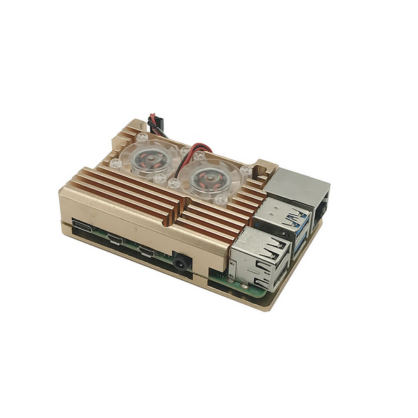 Golden Armor Aluminum Alloy Case with Dual Fan for Raspberry Pi 4