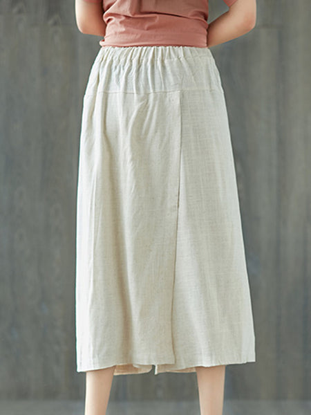 Pure Color Pockets Wide Leg Pants for Women