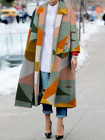 Color Geometric Print Long Sleeve Coat
