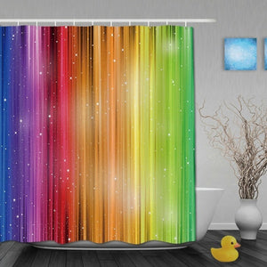Rainbow Polyester Bathroom Curtain 3D Printing WaterProof Decor