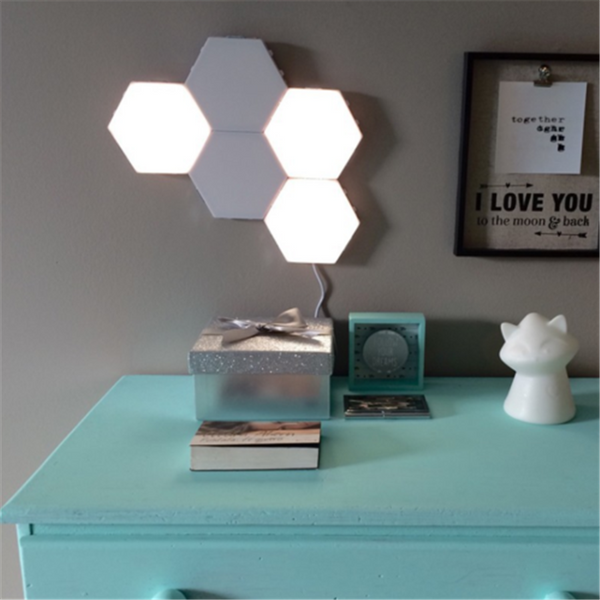 LED Quantum Hexagonal Wall lamp Modular Touch Sensor Light Fixture Living Room Decoration