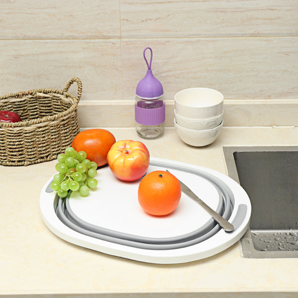 4 in 1 Multi-function Folding Cutting Board Dish Tub Drain Basket Vegetable Basin