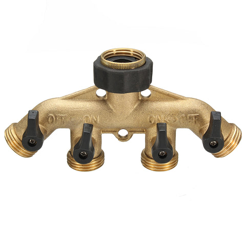 3/4 Inch 4 Way Brass Hose Faucet