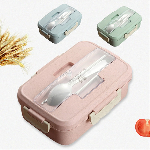 Lunch Box Spoon Chopsticks Case Compartment - Blue