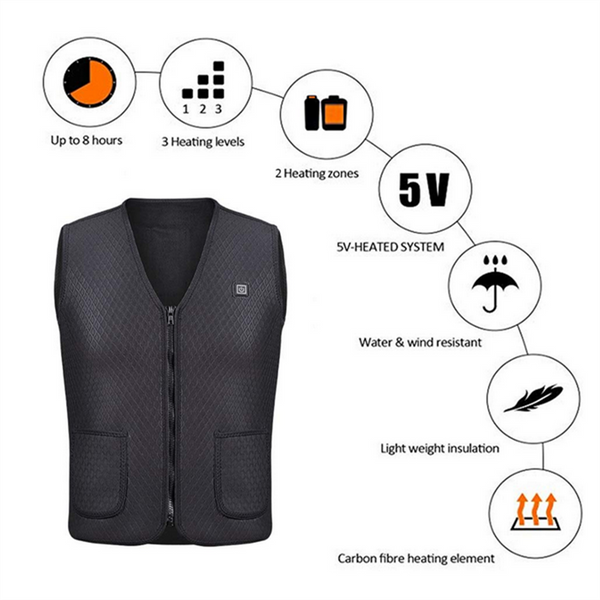 Heated USB Electric Thermal Waistcoat Warm Shapewear For Adult