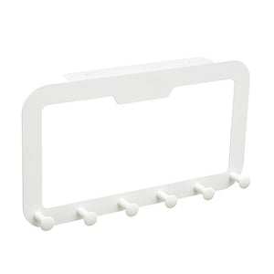 6 Hooks Back Door Hanger Rack Bathroom Kitchen Organizer