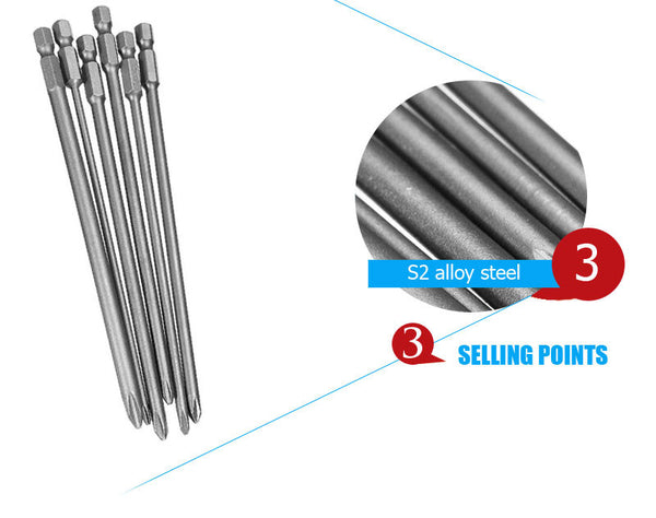 Drillpro 6pcs Shank 1/4 inch S2 alloy steel 150mm Long Magnetic Hex