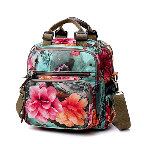 National Style Outdoor Flower Pattern Shoulder Bag Crossbody Bag