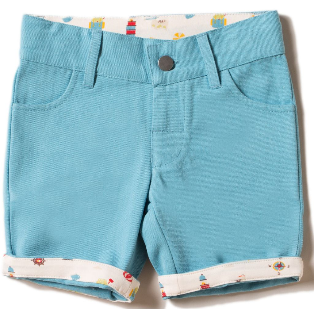 Organic Little Green Radicals Corn Silk Blue Adventure Sunshine Shorts