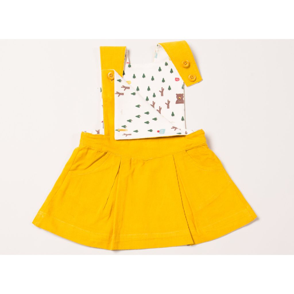Woodland Adventure Gold Pinafore Dress