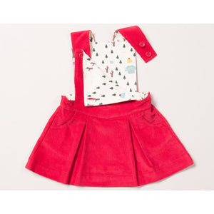 Woodland Adventure Raspberry Pinafore Dress