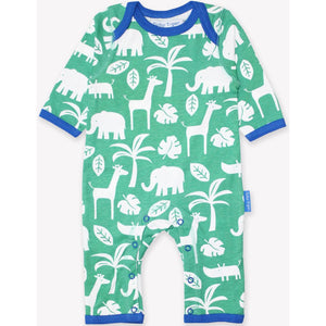Organic Toby Tiger Green Jungle Print Sleepsuit