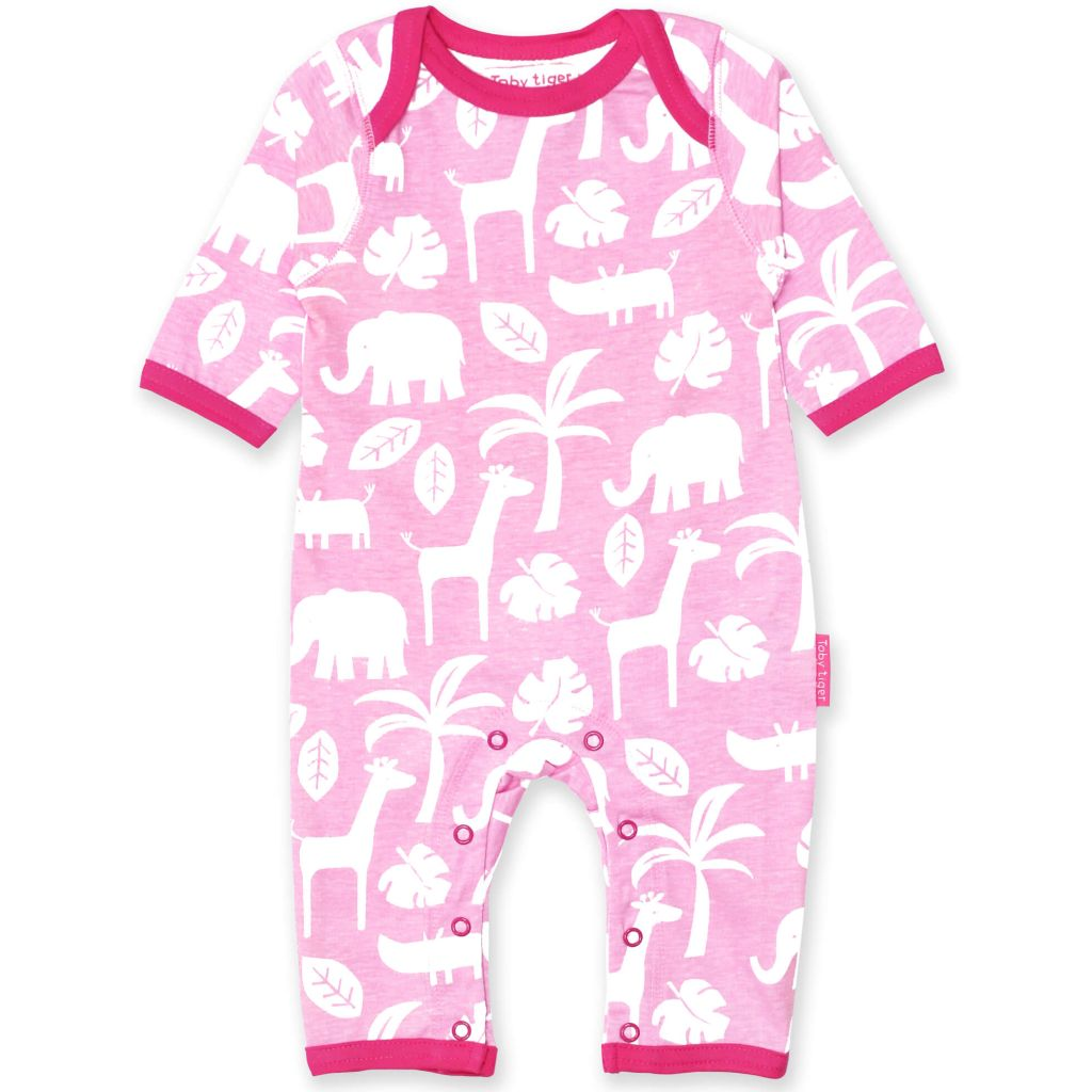 Organic Toby Tiger Pink Jungle Print Sleepsuit