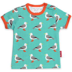 Organic Toby Tiger Teal Seagull Print T-Shirt