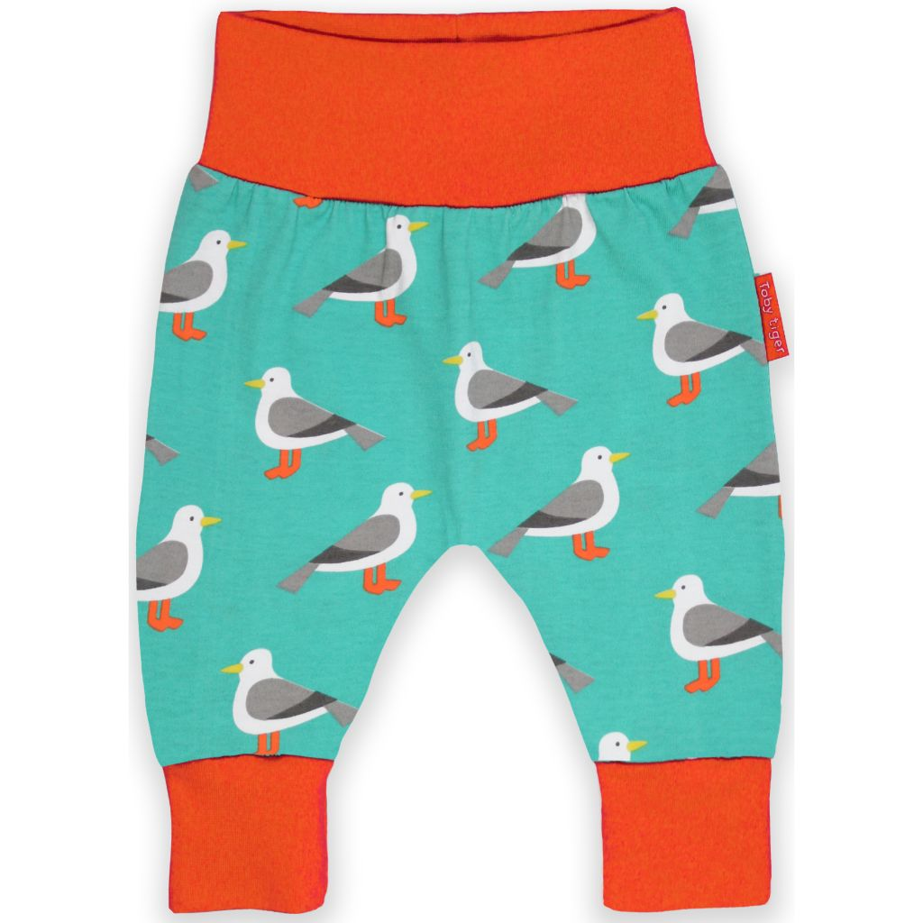 Organic Toby Tiger Teal Seagull Print Yoga Pants