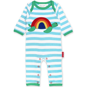 Organic Toby Tiger Turtle Applique Sleepsuit