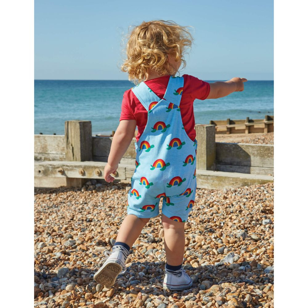 Organic Toby Tiger Multi Turtle Print Dungaree Shorts