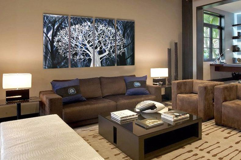 White Blue Tree Metal Wall Art
