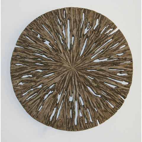 Brown Round Rotten Wood Wall Decor (19 X 2 In)